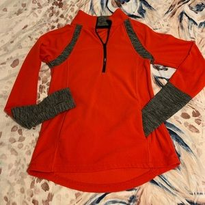 Red and Gray Fleece Pullover